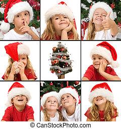 niños, tiempo de navidad, diversión, expresiones, teniendo