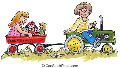 niños, tractor