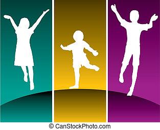 niños, tres, saltar