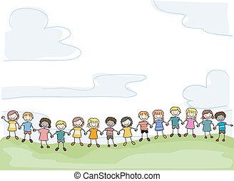 niños, unido