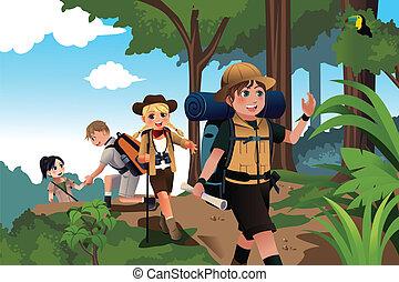 niños, viaje, aventura