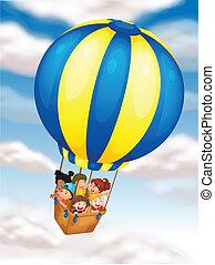 niños, vuelo, en, globo del aire caliente