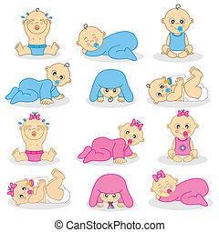 niños, y, chicas bebé