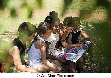 niños, y, educación, niños, y, niñas, libro de lectura, en el estacionamiento