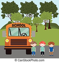 niños, y, eduque autobús