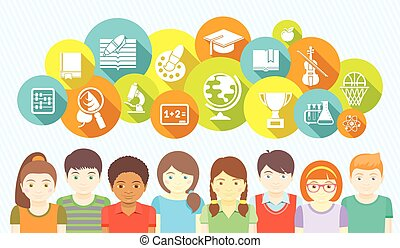 niños, y, escuela, iconos
