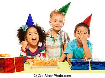 niños, y, fiesta