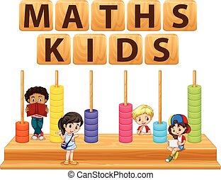 niños, y, matemáticas, juguete