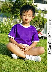 niños, y, meditación