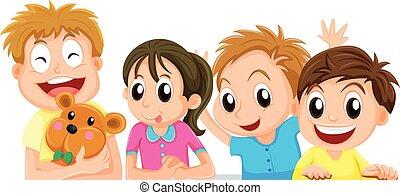 niños, y, niña, con, carita feliz
