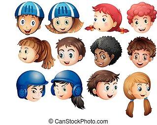 niños y niñas, con, carita feliz
