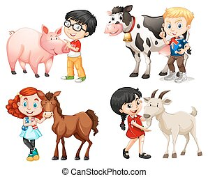 niños y niñas, con, cultive animales
