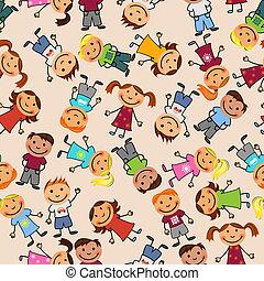 niños y niñas, seamless, patrón
