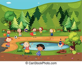niños, y, parque