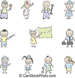 niños, y, profesión, en, color