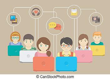 niños, y, social, establecimiento de una red