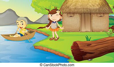 niños, y, un, barco