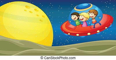 niños, y, vuelo, platillos