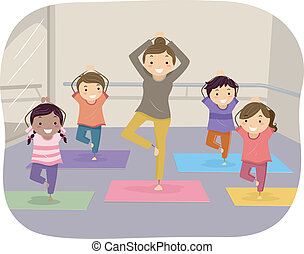 niños, yoga