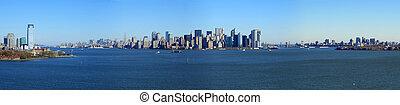 niższy, panoramiczny, york, nowy, manhattan, prospekt