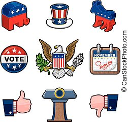 ni, amerikaner, valg, iconerne