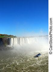 Niagara Falls and tourist boat