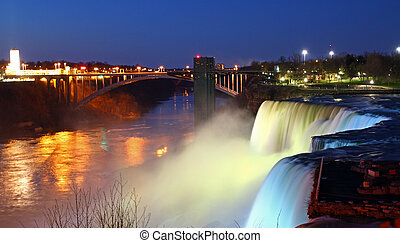 Niagara falls at night, American side