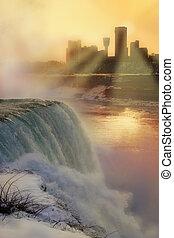 Niagara Falls at Sunset in Winter