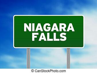 Niagara Falls Highway Sign - Green Niagara Falls highway...