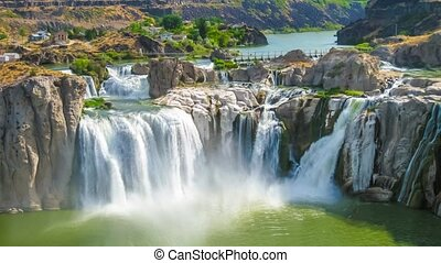 Spectacular aerial view cinemagraph loop of Shoshone Falls or Niagara of the West, Snake River, Idaho, United States.