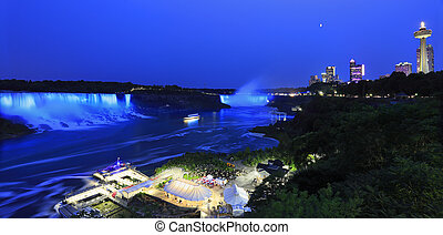 Niagara falls illuminated at dusk