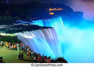 Niagara Falls in colors - Niagara Falls lit at night by...