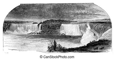 """Niagara falls seen from Canada side. Illustration originally published in Hesse-Wartegg's """"Nord Amerika"""", swedish edition published in 1880. The image is currently in Public domain by virtue of age."""