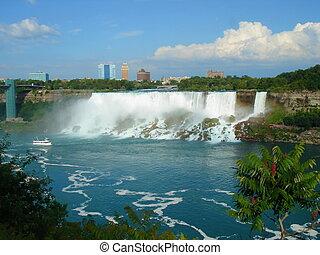 Niagara falls, Ontario, Canada - Niagara falls from far with...