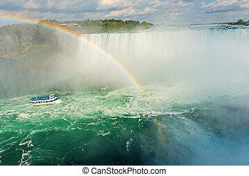 Niagara Falls, Ontario Canada - Rainbow rises from the mist...