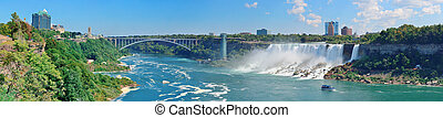 Niagara Falls Panorama - Rainbow Bridge and American Falls...