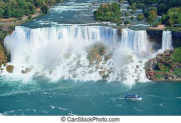 Niagara Falls panorama - Niagara Falls closeup panorama in...