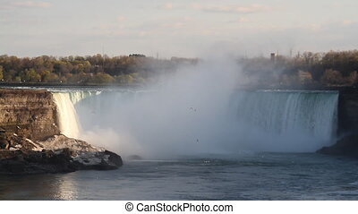 niagara falls, usa and canada with rainbow