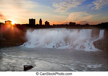 Niagara Falls USA at Sunrise - This is a view of Niagara...