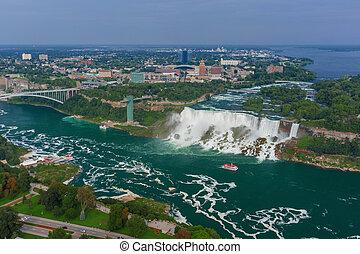 Niagara Falls view from Skylon Tower. Canada.