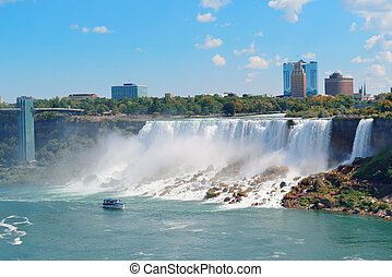 Niagara Falls with boat - Niagara Falls closeup in the day...