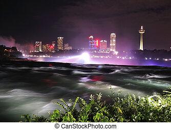 Niagara River in the night time
