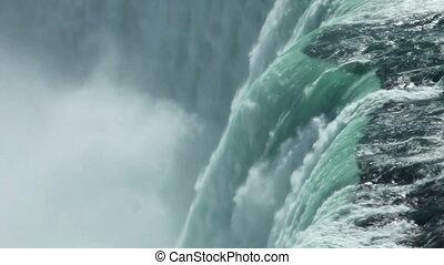 Canadian horseshoe Niagara falls closeup from above, telephoto lens