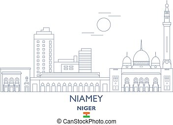 Niamey City Skyline, Niger - Niamey Linear City Skyline,...