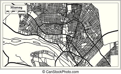 Niamey Niger City Map iin Black and White Color. Outline...
