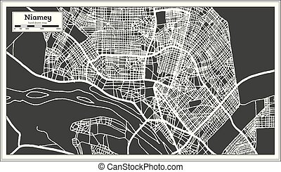 Niamey Niger City Map in Retro Style. Outline Map. Vector...