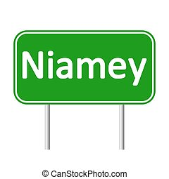 Niamey road sign. - Niamey road sign isolated on white...