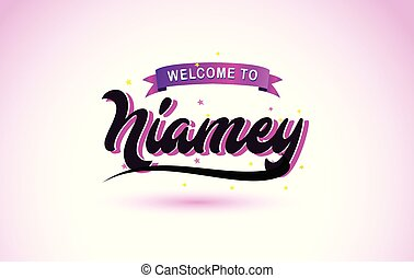 Niamey Welcome to Creative Text Handwritten Font with Purple Pink Colors Design.