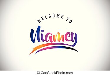 Niamey Welcome To Message in Purple Vibrant Modern Colors. -...