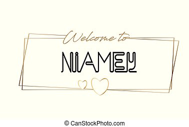 Niamey Welcome to text Neon lettering typography. Word for logotype, badge, icon, postcard, logo, banner Vector Illustration.